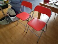 Two Red Folding Chairs - Very Good Condition