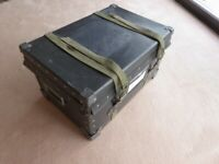 genuine vintage trunk chest grey blue black lidded with straps strong box storage