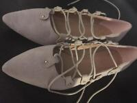 Size 4 missguided pink/mink coloured lace up shoes