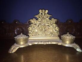 Antique brass letter holder wth cherubs and angels - vintage
