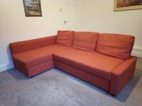 IKEA 3-seat corner sofa-bed with storage