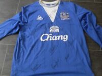 everton signed football shirt