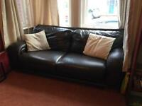 2 X DFS 3 seater brown leather sofas