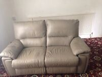 LEATHER 2 SEATER RECLINING SOFA WITH CHAIR