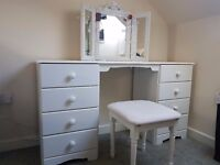DRESSING TABLE with matching stool and tri-fold mirror