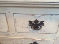 Distressed painted small cabinet