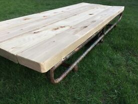 Industrial / vintage / coffee table / cast iron / wooden scaffold board surface / retro