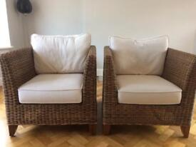 Two rattan chairs and two matching units