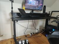 Two-Tier Crank Adjustable Height Sit to Standing Desk (Desk Length: 150cm, Black/Black