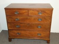 ANTIQUE GEORGIAN INLAID GOLDEN MAHOGANY CHEST OF DRAWERS FREE DELIVER EDINBURGH GLASGOW TAYSIDE FIFE