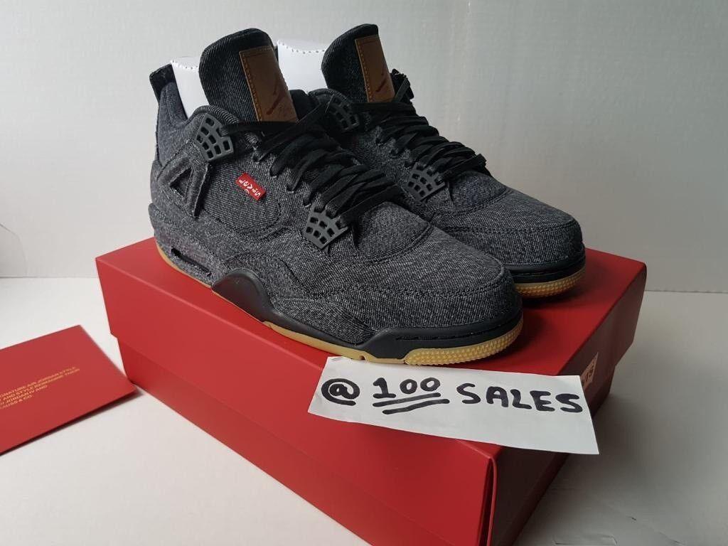 Nike Airjordan 4 x Levis NRG Black Denim Jeans Collaboration UK10 US11 EU45  NIKE RECEIPT 100sales  bc7d0145a
