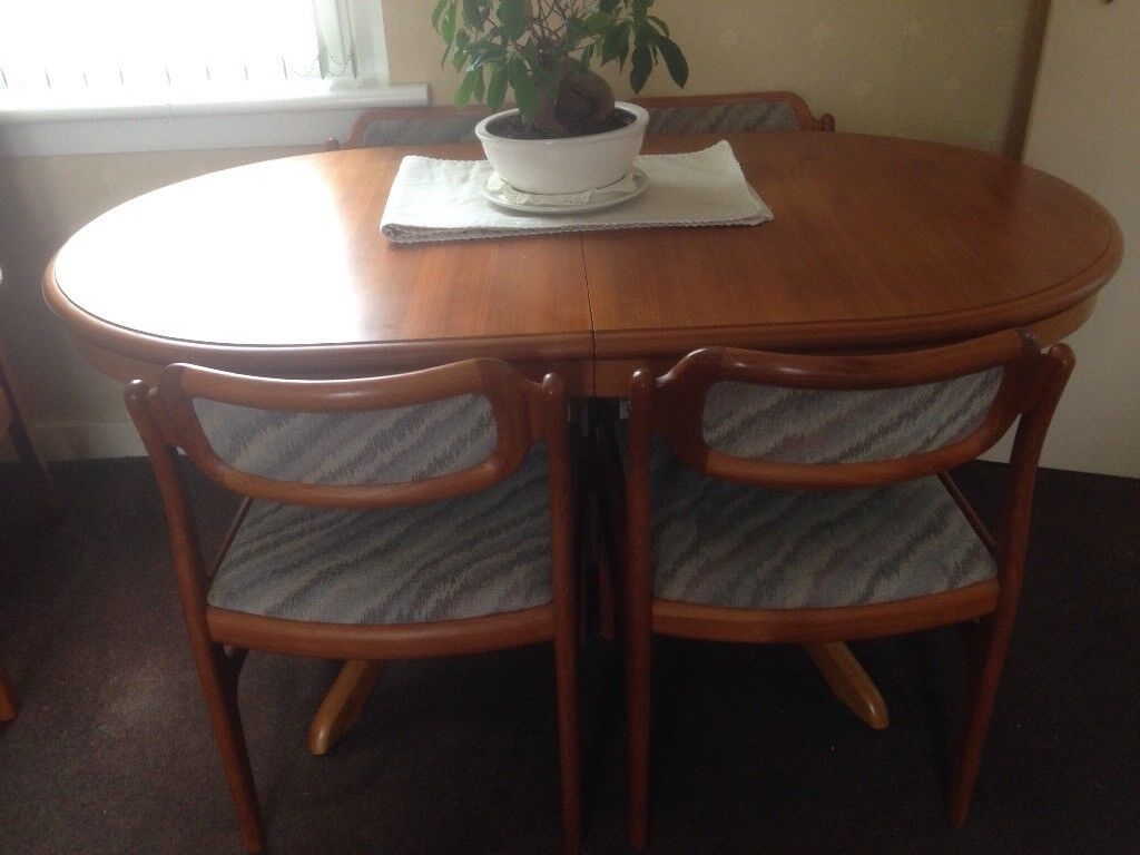 Teak Extending Dining Table And Four Chairs For Sale Good Condition