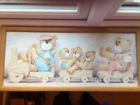 Teddy Bears on a train picture, ideal for child's room. 64cm x 29cm. Good Condition