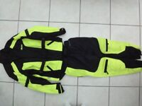 WEISE MOTORCYCLE HI-VIZ FABRIC COAT AND JEANS
