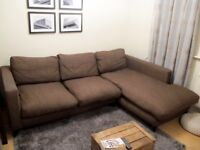 DFS fabric 4-seater corner sofa - chocolate colour - MUST GO