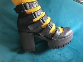 ASOS boots buckle leather black BRAND NEW size 6