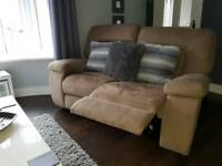 3 + 2 seater Kinman reclining sofas from Harveys in Latte.