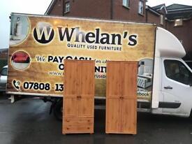 Solid pinewood combination wardrobe £95, double door wardrobe £75