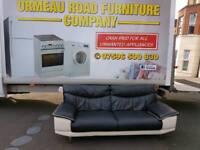 DFS black and cream leather sofa