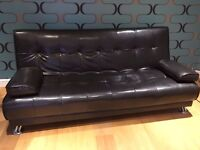 Black Leather Effect Sofa Bed For Sale