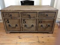 Chest Coffee Table Six Drawers Brown Shabby Chic