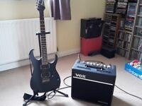 Ibanez RG 321MH Guitar and Vox VT40+ Amp with lead and stand.
