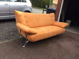Retro Vintage 3 Seater Settee Sofa and Chair in Faux Suede Orange Terracotta in Excellent Condition