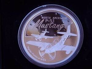 MUSTANG P51-D 2008 $1 Silver Proof Coloured Coin. Ltd. Ed. *XMAS* Wembley Cambridge Area Preview
