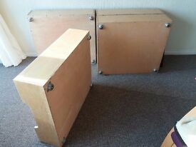 4 x Under Bed Storages, Wood, On Rollerball Castors