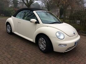 Volkswagen Beetle Cabriolet (2005) Beige. One Careful Owner. 68,000 miles. Leather Interior