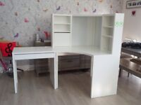 IKEA Micke corner work station and desk extension in excellent condition white