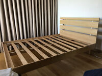 Small Modern Wooden Double Bed Frame Only For Sale 135 cm x 190 cm No Mattress Just Frame