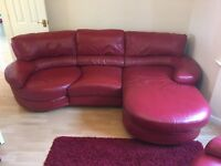 Red leather 3-4 seater sofa with chaise and 2 seater sofa