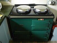 AGA. 13 Amp. elec. Dark Green. 2 ovens , 2 hobs. Well cared for.