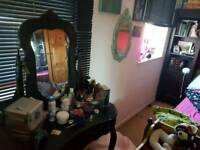 Laura Ashley dressing table and stool painted black
