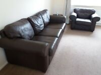 Ikea brown leather 3 seater sofa and armchair. Must go, buyer collects.
