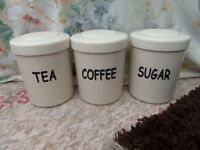 Plastic tea,coffee/sugar cannisters