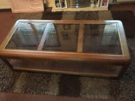 Large glass top heavy coffee table