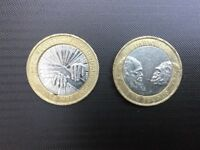 2 Pound Coins Charles Darwin 2009 and Florence Nightingale 2010 with Minting Error