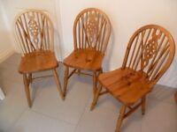 3 Pine Wheel-back Chairs