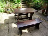 Table and two benches , great condition, suitable for indoor and outdoor