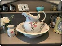 Gorgeous Antique Victorian Style Large Floral Wash Stand Jug, Bowl & Flower Vase Set