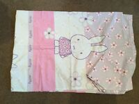 M & S Miffy single bed set in lilac, pink and white