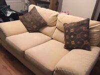 Cream Cloth Two Seater Sofa