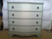 Very Attractive Shabby Chic Hand Painted Mahogany Bow Fronted Four Drawer Chest.