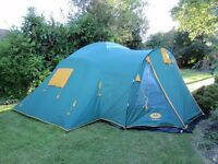 Campus Super Duo Turbo Tent - Generous 4 berth - Green and Yellow - Excellent Condition