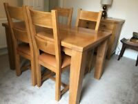 Solid Wood Dining Table (Extendable), Four Dining Chairs and a matching Sideboard