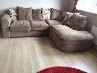 Large dark beige corner settee with matching swivel chair