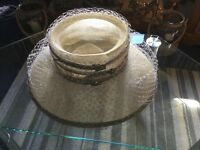 Simple cream, gray trim and diamanté occasion hat