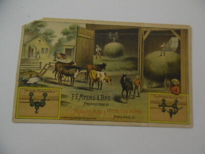 1880S F E Myers   Bro Ashland Pump Haying Tool Hay Carrier Trade Card Antique